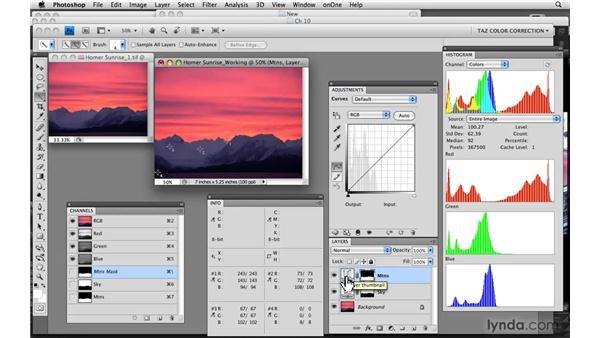 Image within image: Sunrise and mountains: Photoshop CS4: Color Correction