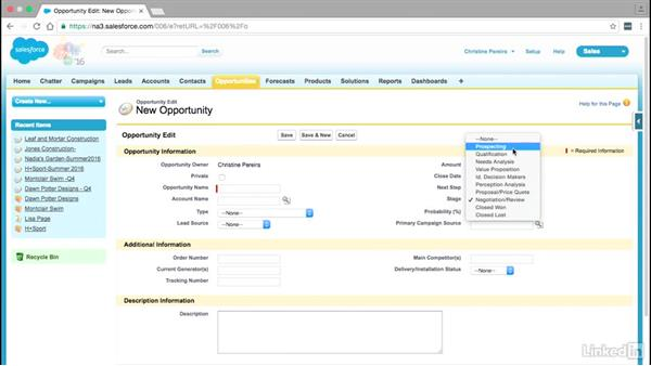 Opportunities and the sales pipeline: Learn Salesforce: The Basics