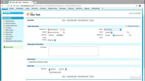 How to create new tasks: Learn Salesforce: The Basics