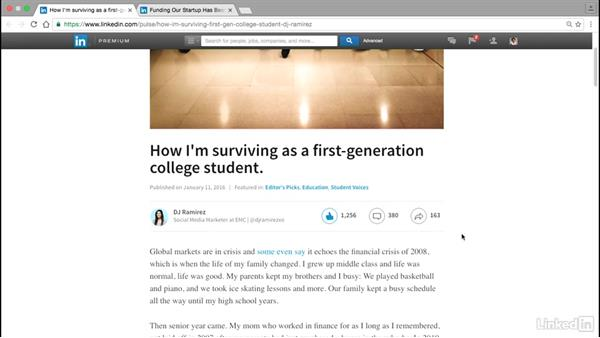 Share firsthand accounts: Publishing on LinkedIn for College Students and Young Professionals