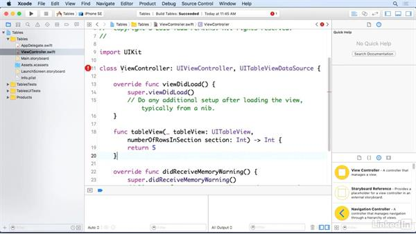 Create a basic table view data source: iOS 10 App Development Essentials 5: Working with Views