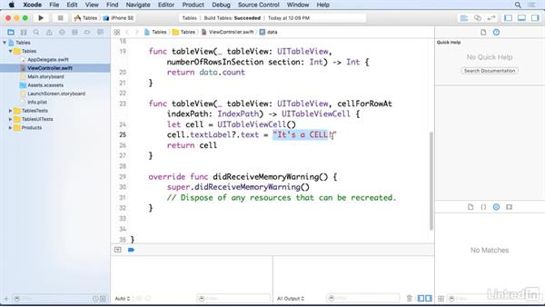 Load an array into a table view: iOS 10 App Development Essentials 5: Working with Views