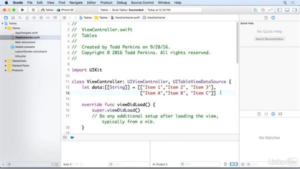 Add section headers to table views: iOS 10 App Development Essentials 5: Working with Views