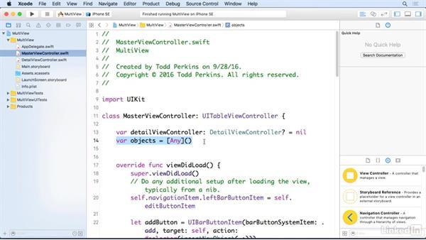 Deconstruct a master-detail app: iOS 10 App Development Essentials 5: Working with Views