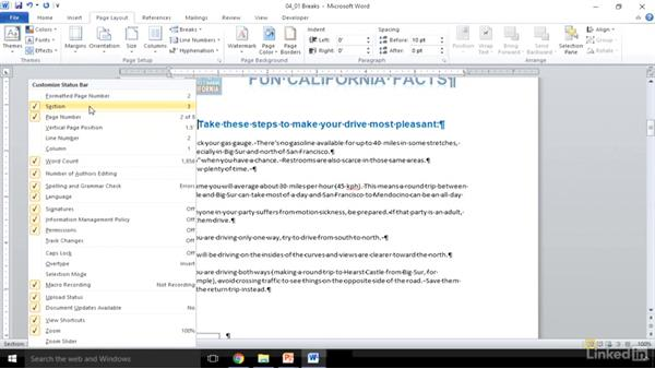 Insert page, section, and column breaks: Word 2010: Prepare for the Microsoft Office Specialist Certification Exam (77-881)