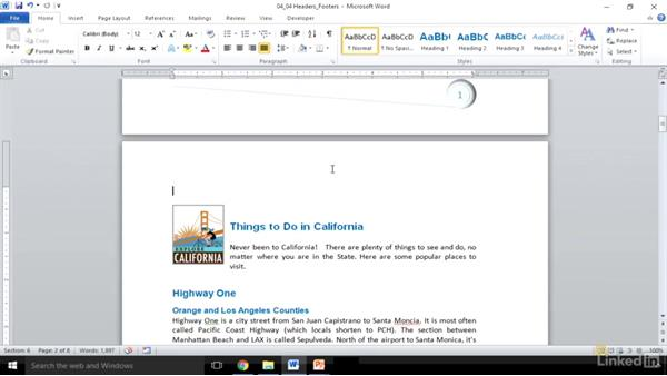 Create and insert headers and footers: Word 2010: Prepare for the Microsoft Office Specialist Certification Exam (77-881)