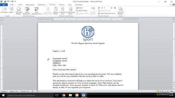 Set up a mail merge: Word 2010: Prepare for the Microsoft Office Specialist Certification Exam (77-881)