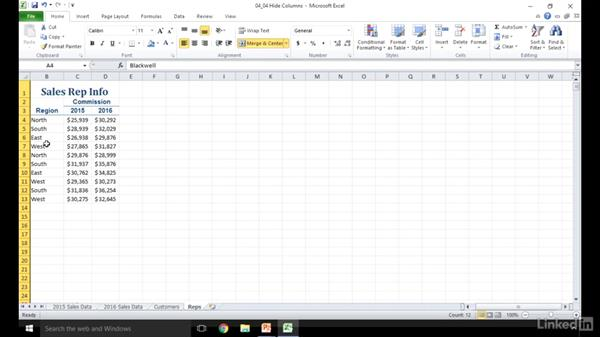 Hide and unhide rows and columns: Excel 2010: Prepare for the Microsoft Office Specialist Certification Exam (77-882)