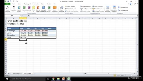 Use named ranges for navigation and in formulas: Excel 2010: Prepare for the Microsoft Office Specialist Certification Exam (77-882)