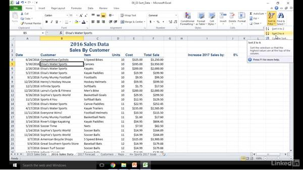 Sort data: Excel 2010: Prepare for the Microsoft Office Specialist Certification Exam (77-882)