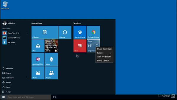 Configure the Start Menu and Desktop: Windows 10: Implementation
