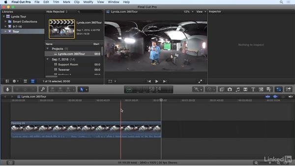 Assembling footage on the timeline: 360 Video Workflow