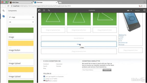 Add an image component to a page: Adobe Experience Manager for Marketers