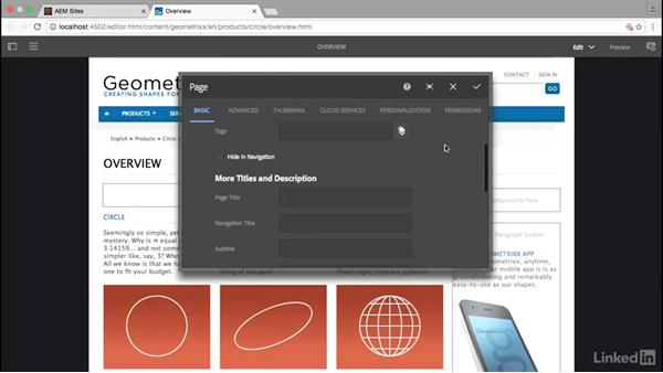 Explore page properties: Adobe Experience Manager for Marketers
