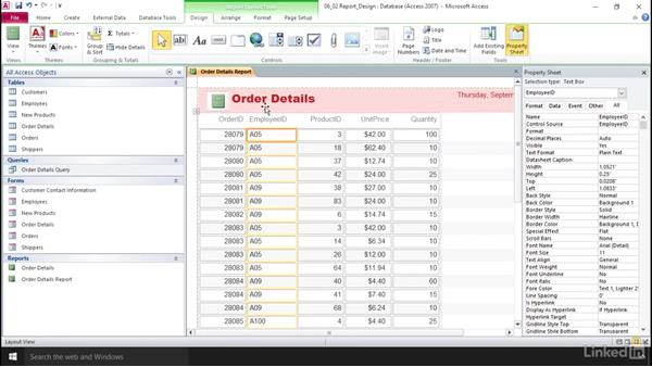 Apply Report Design tab options: Access 2010: Prepare for the Microsoft Office Specialist Certification Exam (77-885)
