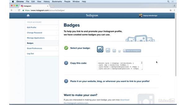 Creating and embedding Instagram badges: Instagram for Business