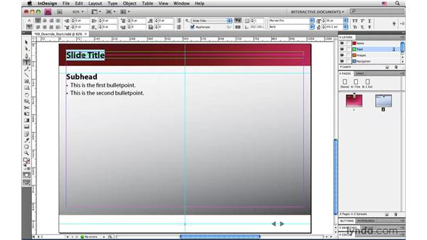 Overriding master page items: InDesign CS4: Interactive Documents and Presentations