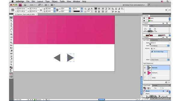 Creating navigation buttons: InDesign CS4: Interactive Documents and Presentations