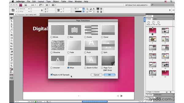Applying page transitions: InDesign CS4: Interactive Documents and Presentations