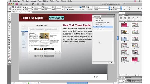 Creating bookmarks in InDesign: InDesign CS4: Interactive Documents and Presentations