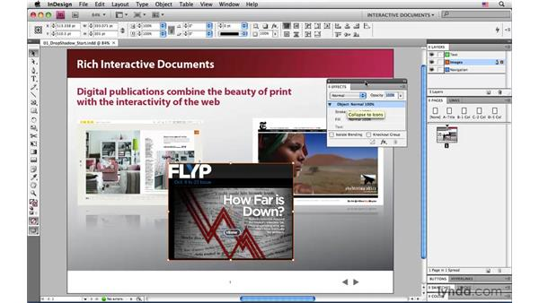 Adding a drop shadow: InDesign CS4: Interactive Documents and Presentations