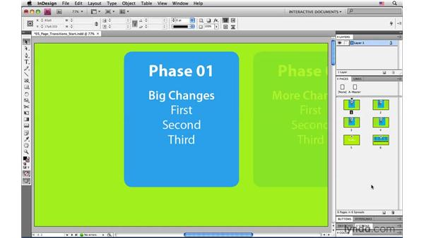 Creating the sense of a timeline with page transitions: InDesign CS4: Interactive Documents and Presentations