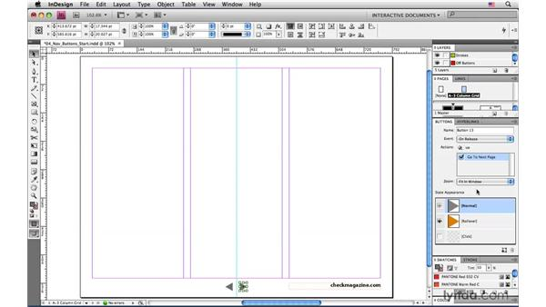 Assigning actions to the navigation buttons: InDesign CS4: Interactive Documents and Presentations