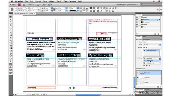 Toggling the visibility of multiple objects with one button: InDesign CS4: Interactive Documents and Presentations