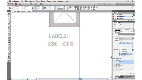 Creating buttons to hide and show color values: InDesign CS4: Interactive Documents and Presentations