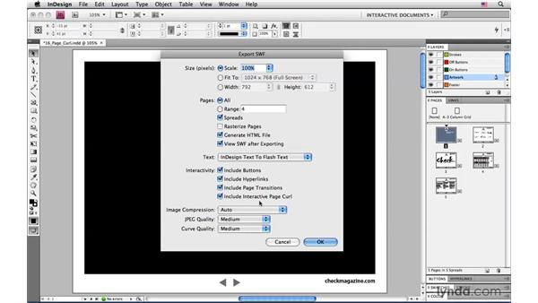 Adding the Interactive Page Curl option for Flash (SWF) Export: InDesign CS4: Interactive Documents and Presentations