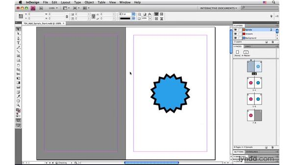 Adding the spiral-bound image to the edges: InDesign CS4: Interactive Documents and Presentations
