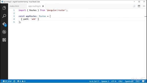 Setting the base href and configuring routes: Angular 2 Essential Training