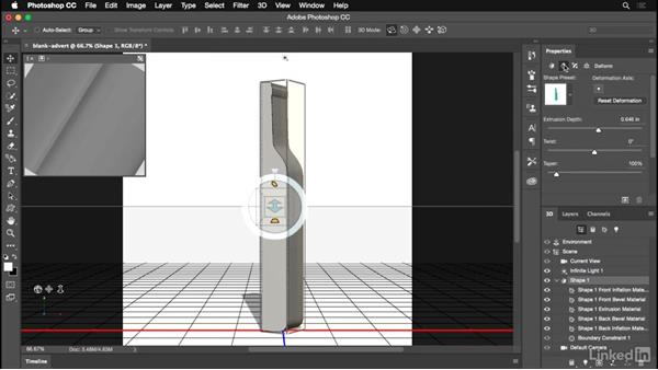 Extruding a photo into a new 3D layer: Photoshop for Designers: Practical 3D Designs