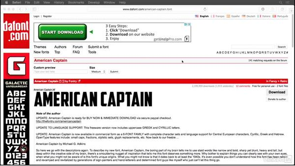 Optional: Installing the American Captain font: Photoshop for Designers: Practical 3D Designs