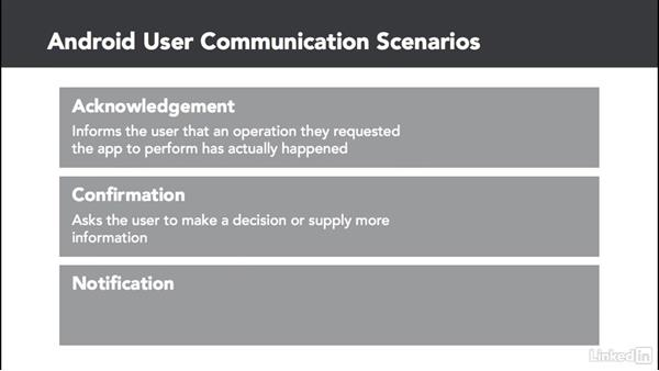 Communication usage scenarios: Android: Communicating with the User