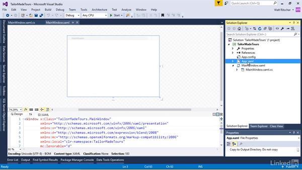 Explore the parts of a WPF project: Windows Presentation Foundation 1: Build Dramatic Desktop Applications