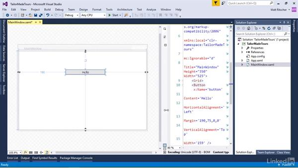 Use the XAML editor: Windows Presentation Foundation 1: Build Dramatic Desktop Applications