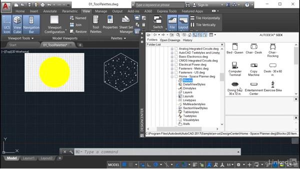 Using AutoCAD DesignCenter: AutoCAD: Tool Palettes
