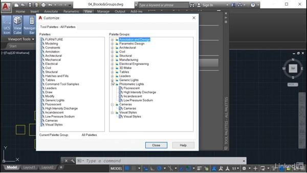 Creating a new palette group: AutoCAD: Tool Palettes