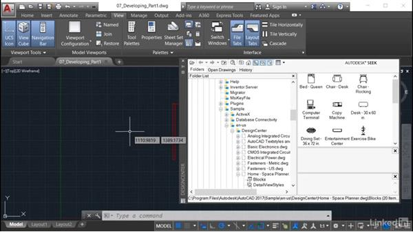 Finding the block in DesignCenter: AutoCAD: Tool Palettes