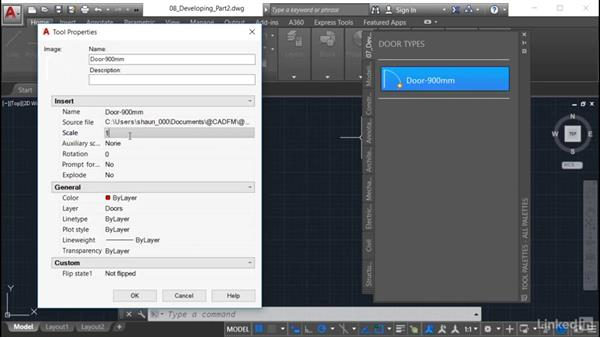 Checking scaling of the block: AutoCAD: Tool Palettes