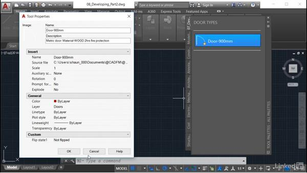 Inserting the block from the tool palette: AutoCAD: Tool Palettes