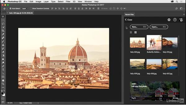 Opening recent files: Photoshop CC 2017 for Photographers: New Features