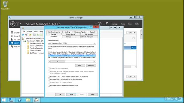Configure certificate revocation list (CRL) distribution points: Windows Server 2012 R2: Configure Identity and Access Solutions