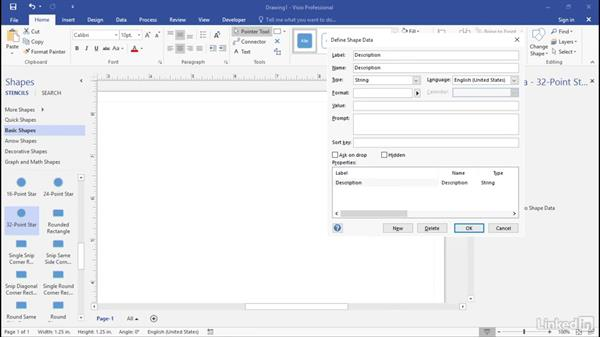 Define text and numeric fields: Advanced Visio: Working with Data