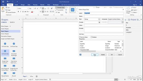 Define date and duration fields: Advanced Visio: Working with Data