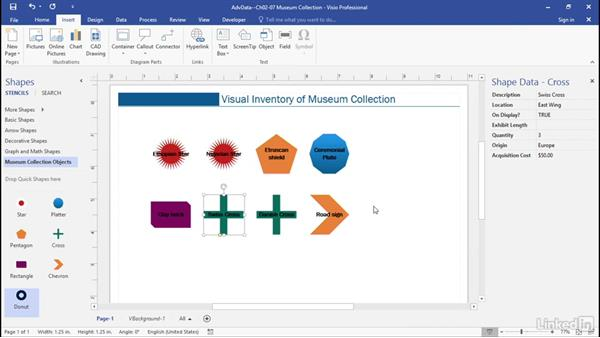 Insert display fields: Advanced Visio: Working with Data