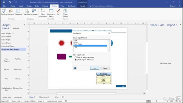 Run built-in reports: Advanced Visio: Working with Data