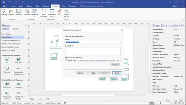 Define custom reports: Advanced Visio: Working with Data