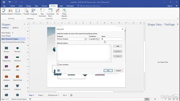 Refine custom report definitions: Advanced Visio: Working with Data